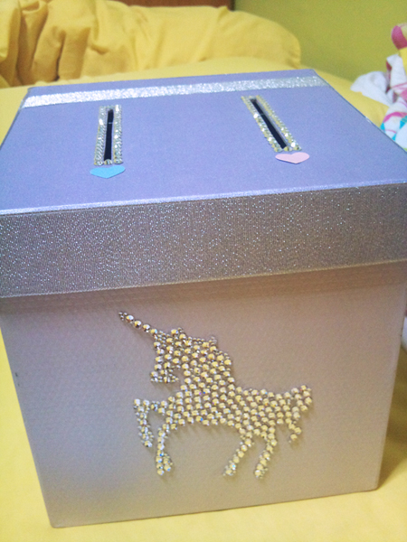 DIY unicorn wedding box